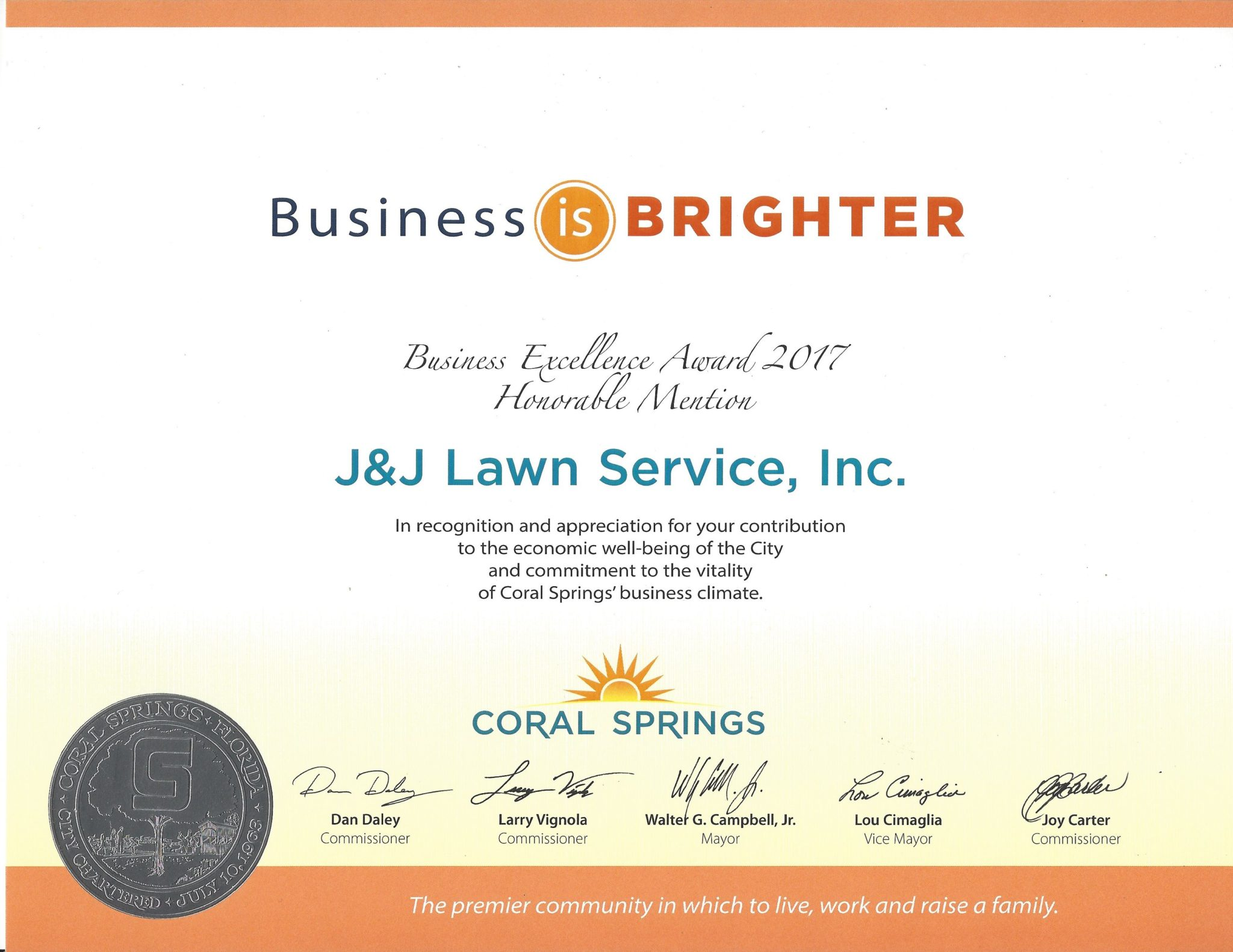Coral Springs 2017 Business Is Brighter Award Recipient